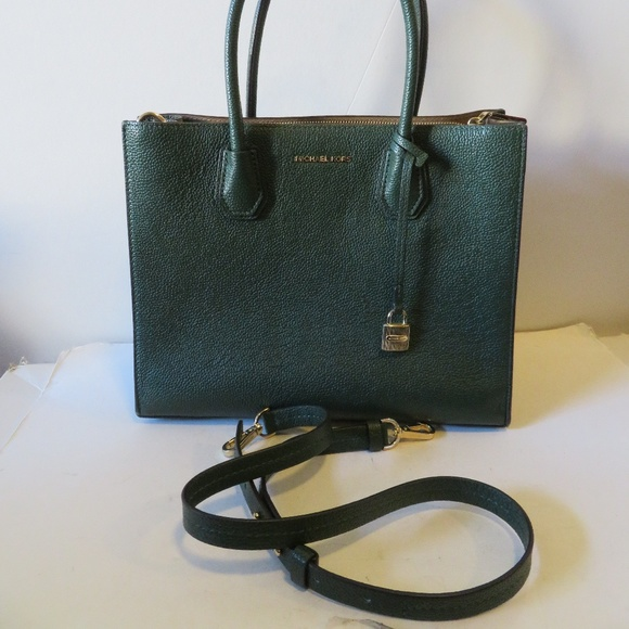 MICHAEL KORS MERCER HUNTER GREEN LEATHER BAG. M 5bd9de6bbaebf6972dc94d4e daa88582ab